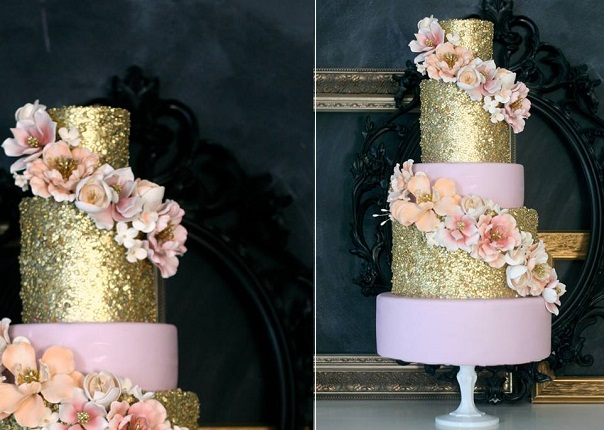 Edible Gold Sequins and Pale Pink with floral accents by The Caketress